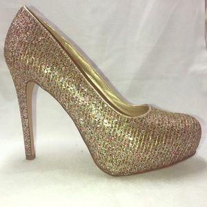 Delicious Glitter Platform Heels NWOB Sz. 9 M